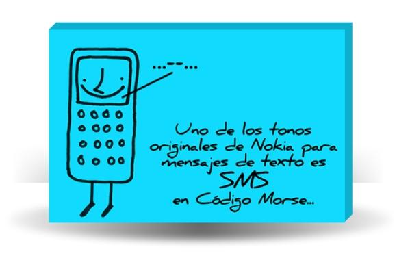 Uno de los tonos originales de Nokia para mensajes de texto es SMS en Código Morse